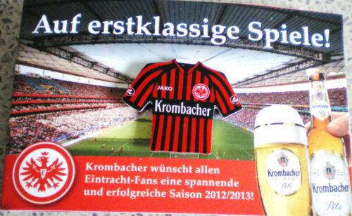 49 EINTRACHT FRANKFURT-PIN AUF FOLDER-SAISON 2012//2013-mit KROMBACHER BIER-TOP-