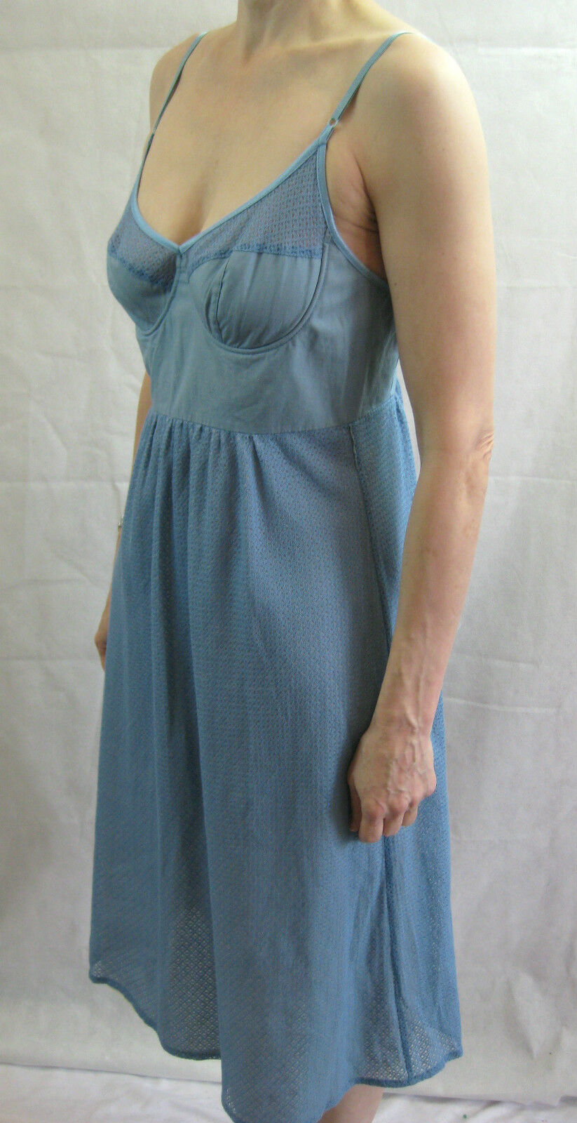 Sally Smith Größe 10 Blau Cotton Casual Dress