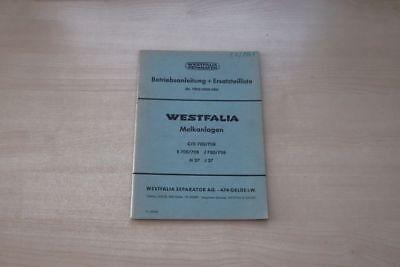 193125) Westfalia Separator Melkanlage Ersatzteilliste Handbuch 09/1963 Diversifizierte Neueste Designs