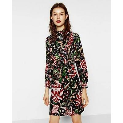 BNWT ZARA FLORAL PRINTED DRESS WITH LACE BACK s.XS   REF. 7938/851