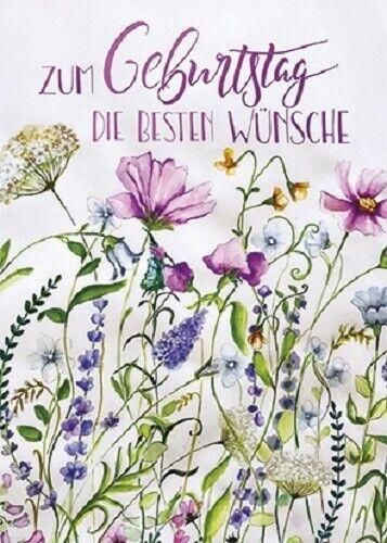 *CAROLA PABST*Postkarte*Geburtstag*Blumewiese*Danke*Blumenkreis*10x15cm