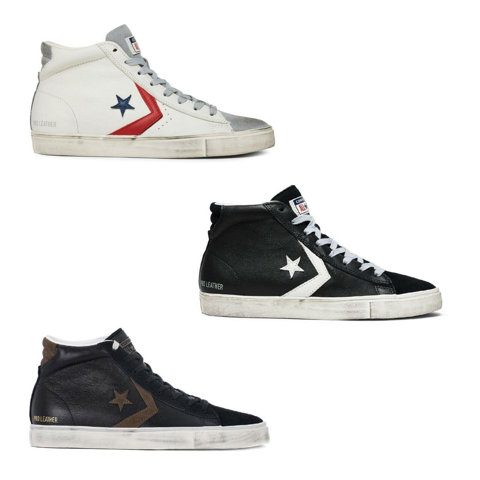 Converse Pro Leather Vulc Distressed Mi scarpe ginnastica uomo donna nera 158923