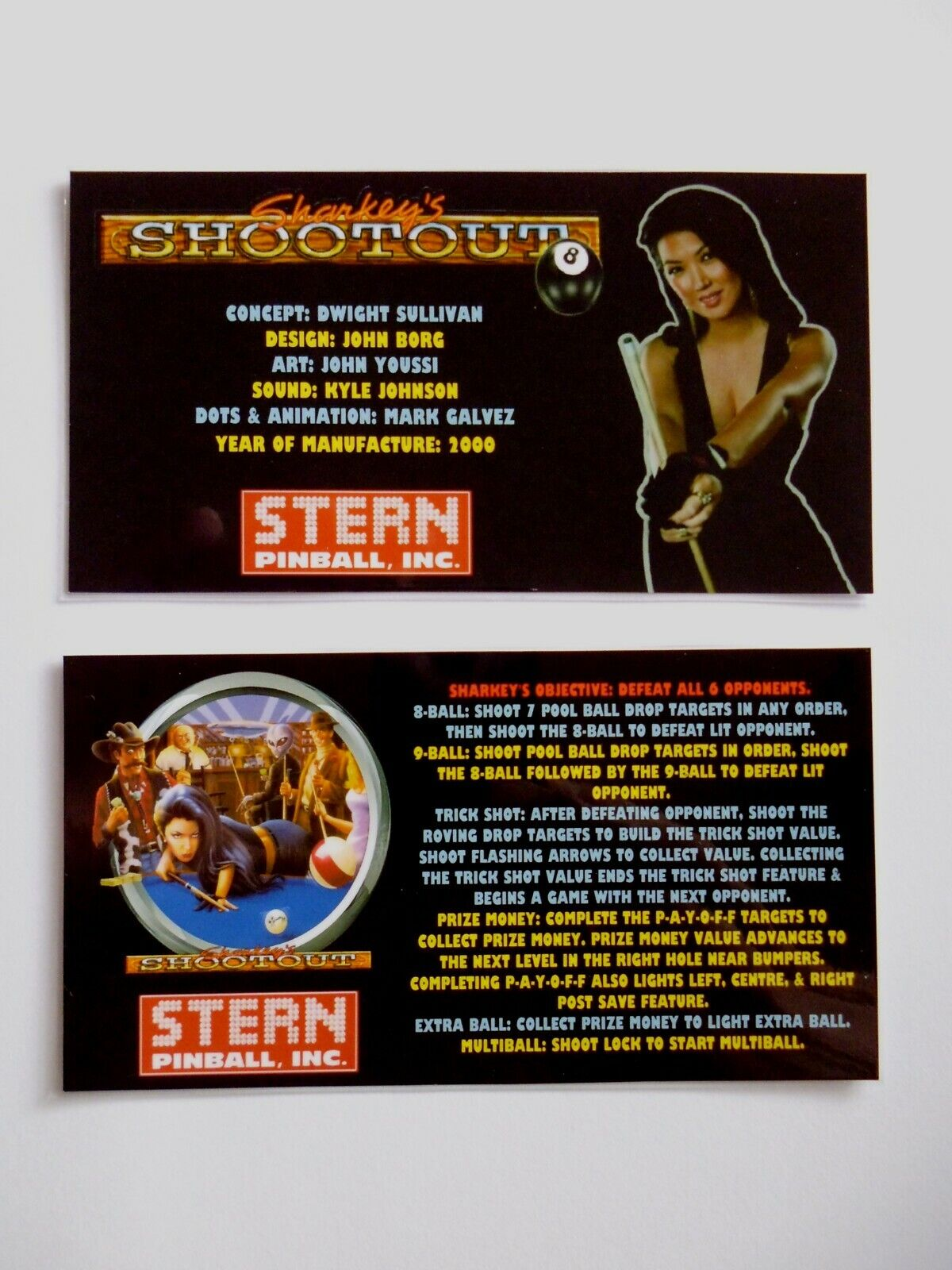 * * 'SHARKEY'S SHOOTOUT' Stern 2000 Custom Instruction/Apron Cards * * (New)
