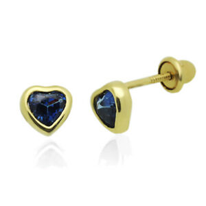 11mm X 10mm 14k Yellow Gold Blue Cubic Zirconia Earrings//Set,