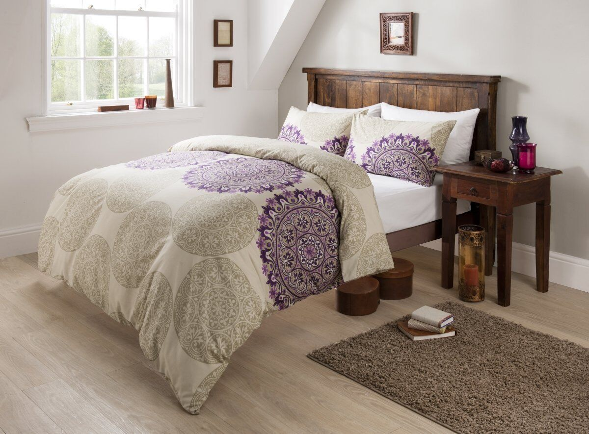 Luxury Beige Aubergine King Size Bedding Set Duvet Quilt Cover With Pillowcases