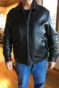 Men-039-s-Wilson-Leather-Jacket-Black-size-Large