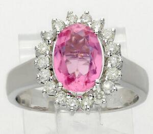 Diamond-pink-gemstone-halo-ring-14K-white-gold-oval-round-brilliant-2-10CT-sz-7