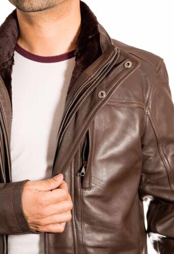 Men/'s Brown Safari Causal Winter Coat Detachable And Fleece Double Collar Zipped