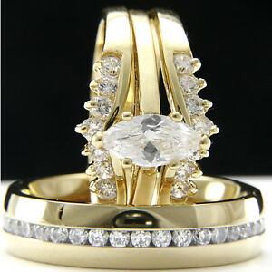 Cz Wedding Sets.Details About Gold Plated Stainless Steel Marquise Cut Cz Wedding Engagement Rings Set