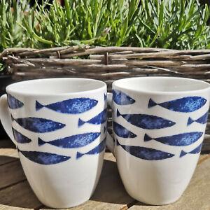 2-x-Fische-Maritim-Porzellan-Kaffeebecher-Tasse-300ml-Blauweiss-Kaffeepot-Fisch