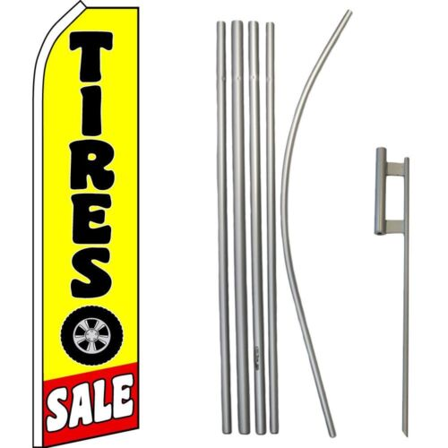 Tires Sale Black Yellow Swooper Super Flag /& 16ft Flagpole Kit Ground Spike