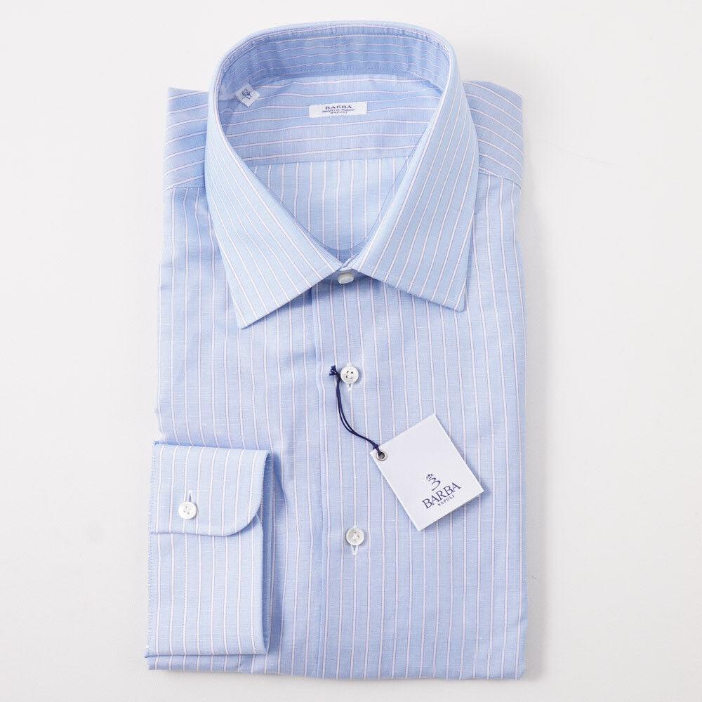NWT  350 BARBA NAPOLI Sky Blau Stripe Woven baumwolle Dress hemd 17 x 37