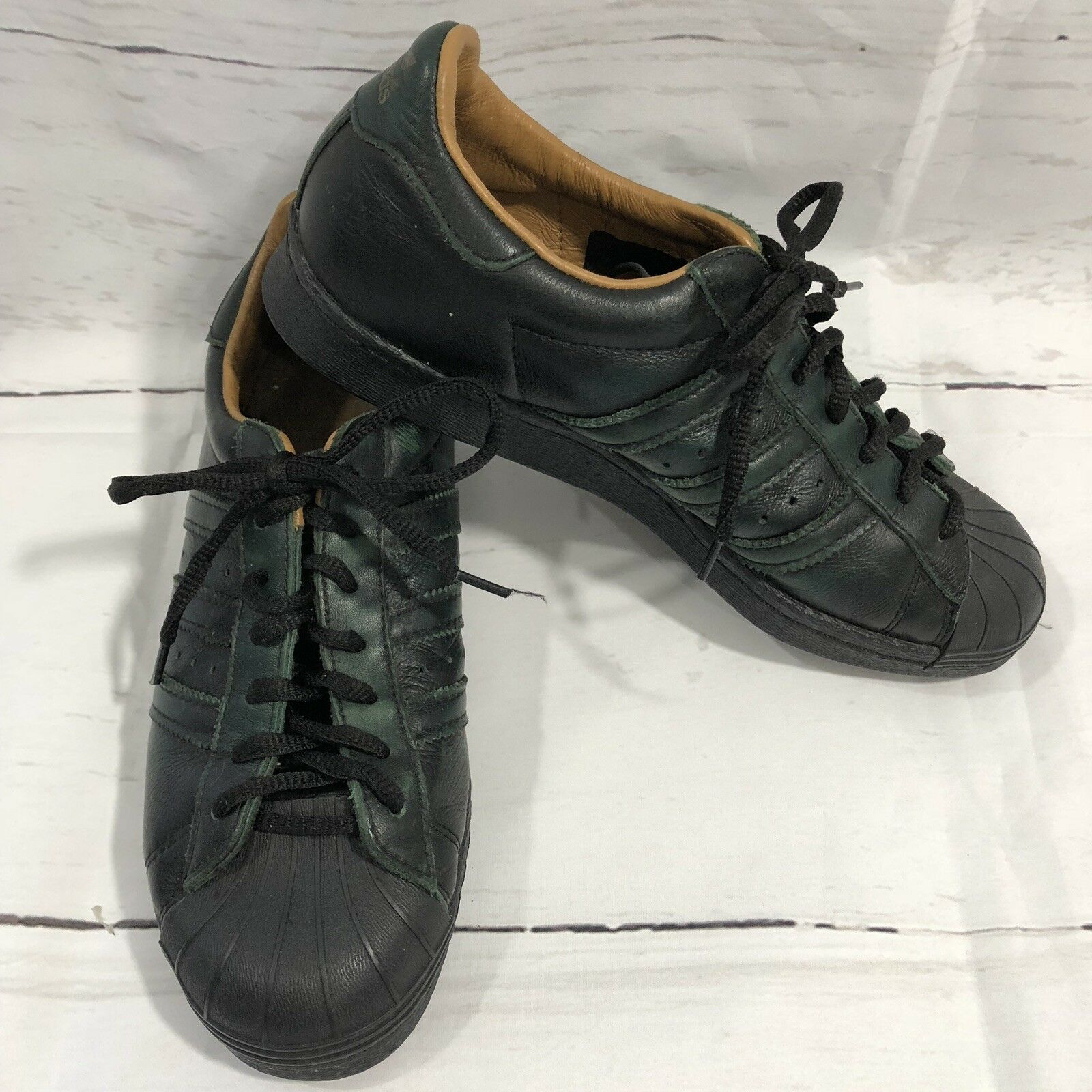 Adidas Superstar Sneakers 80s Dark Green Shell Toe Leather Mens Size 6.5  men