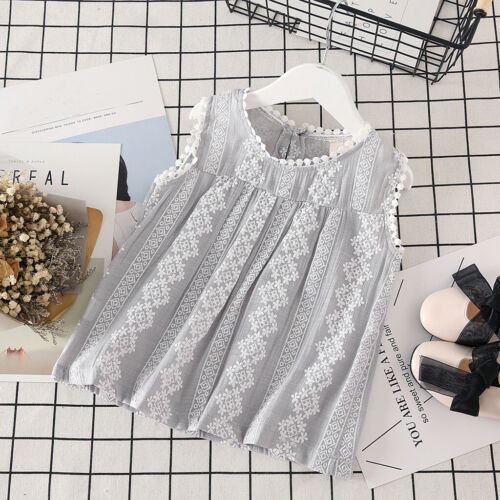 Toddler Cute Baby Kid Girls Solid Lace Patchwork Tops Vest Casual Clothes Outfit