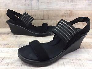 ccbecd4b598f Skechers 38472 Rumblers Sci-Fi Black Memory Foam Wedge Heel Sandals ...