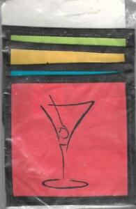 Pier-1-Imports-MARTINI-Coasters-Fabric-Set-of-4-Made-in-India-Vibrant-Colors-New