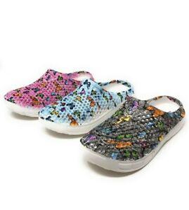Clogs for Women Slip Resistant Shoes For Women Nurse Shoes Butterfly Garden Clog
