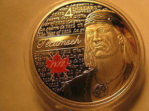 Canada-2012-War-Of-1812-Hero-Tecumseh-4-Fine-Silver-Coin-RCM-Mint-Pack