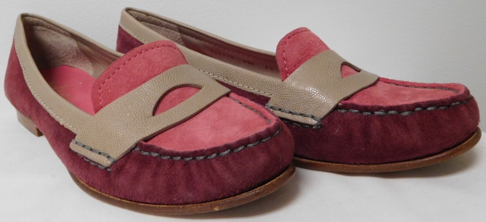 COLE HAAN SWOSH AIR PURPLE AND PINK SUEDE MOCCASINS LOAFERS Donna SIZE 8.5 EUC