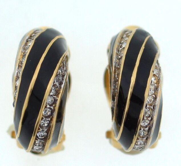 NINA RICCI gold VERMAIL ENAMEL CRYSTAL CLIP ON EARRINGS COSTUME JEWELRY