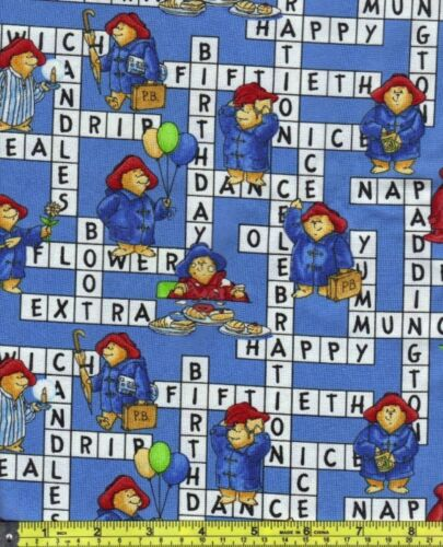 Paddington Bear Blue Crossword Puzzle Scene Cotton Fabric 1//4 yd 22.5cm off bolt