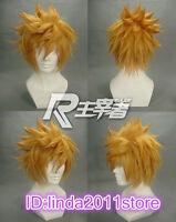 Kingdom Hearts Roxas Short Flip Out Golden Blonde Cosplay Wig + free wig cap