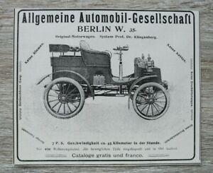 Werbung-Anzeige-1900-Alg-Automobil-Gesellschaft-Berlin-Auto-Oldtimer-Klingenberg