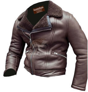 5a733d051 Details about WW2 B3 Bomber Brown Shearling Pilot Flight Aviator Flying  Bomb Jacket