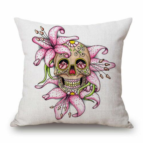 Skeleton Indiana Sugar Skull Art Throw Pillow Case Cushion Cover Decor Gift