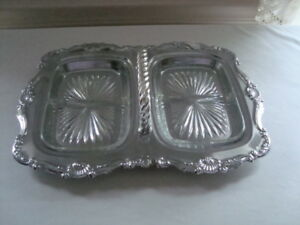 Vintage-Shelton-Ware-Chrome-Relish-Serving-Tray-Dish-w-Glass-Inserts-1970s