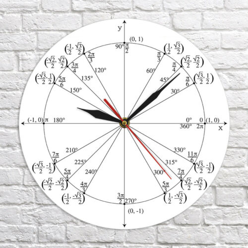 Unit Circle Math Teacher Wall Clock Trigonometry Pre Calculus Classroom Decor