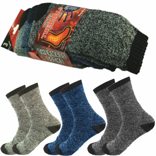 12 Pairs Mens Winter Thermal Heated Socks Super Warm Heavy Duty Boots Size 10-13