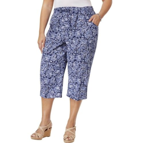 Karen Scott Plus Size Comfort Waist Pull-On Capri Pants 2X Navy Combo #1640