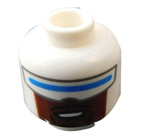 Lego Kopf weiss Visier blau Bart schwarz für Minifigur Frozone 3626cpb2364 Neu