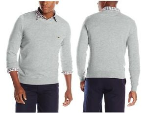 Lacoste Men Fashion Silver Soft Jersey Cotton Pullover Sweater Top Shirt 1900