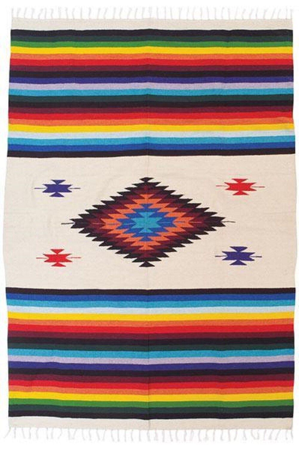 Diamond Sarape Throw Bed Cover Tan Mexico Beach Yoga Mat Travel Camp 5'x7' Cotto