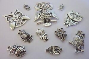 12-pce-Metal-Silver-Tone-Owl-Charm-Pendants-Jewellery-Making-Craft