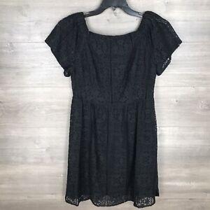 Mossimo-Women-s-Size-Medium-Fit-amp-Flare-Dress-Black-Lace-Short-Sleeve-NEW