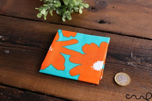Handmade Unisex Pocket Square Cotton Handkerchief Orange Retro Floral Wedding P