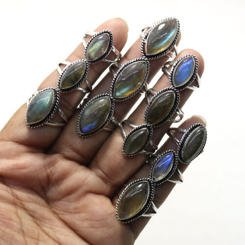 25 PCs Lot Natural Labradorite Gemstone Silver Plated Rings Jewelry. New !