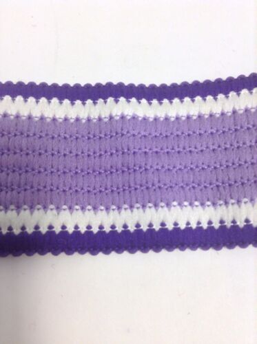 Color BTY Fo 108 Lt Purple ,purple And White Beautiful Knitted Flat Braid Trim