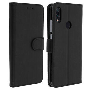 Flip-wallet-case-magnetic-cover-with-stand-for-Xiaomi-Redmi-Note-7-Black