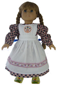 Baking Dress + Apron + Hair Ribbons for Pioneer Era Kirsten American Girl Doll