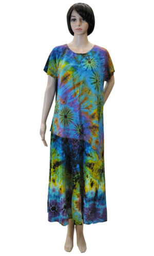 Bekleidung Damen bunt Batik Hose Top Shirt Kleid Tunika Tshirt Oberteil Rock