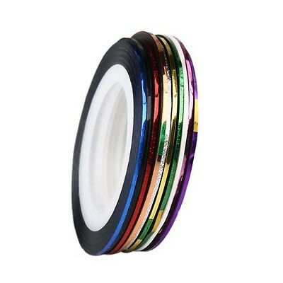 10 Roll Mix Color Nail Art Tape Lace Line Strips Design For Gel Polish