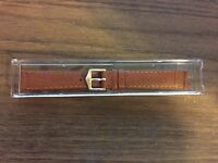 Toscana Tan Italian Vera Pelle 14mm Watchband With Gold Stripes