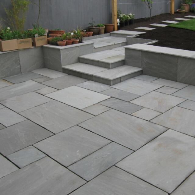 Patio Slabs And Designs: Bradstone Indian Sandstone Patio Paving Slab Silver Grey