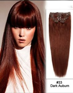Image is loading Clip-in-Remy-Hair-Extensions-33-Auburn-20- 4b0f6d3122c6