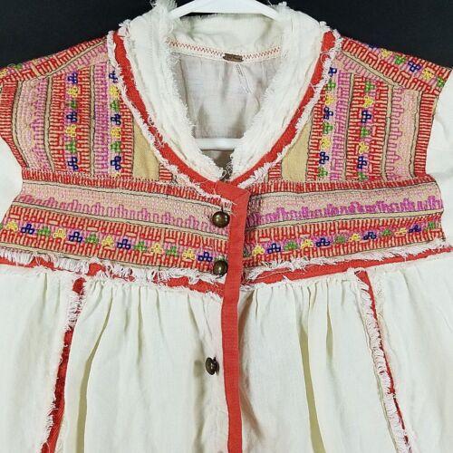 People à l'encolure Veste poignets boutonnée Free White avec Womens blanche brodés q4xBn8Iw1
