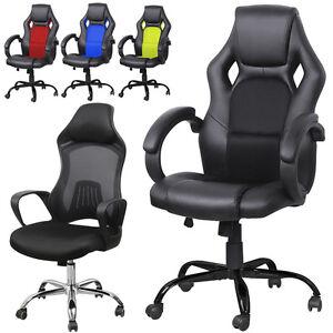 Image is loading High-Back-Race-Car-Bucket-Seat-Office-Desk-  sc 1 st  eBay & High Back Race Car Bucket Seat Office Desk Chair Racing Gaming ...